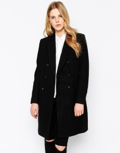 Selected black Double Breasted Crombie Coat original price $358.30 sale price $193.48