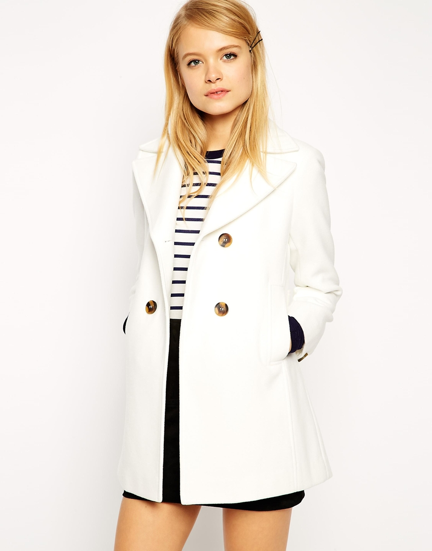 White ASOS Pea Coat With Vintage Detail In Swing original price $116.45 sale price $81.51