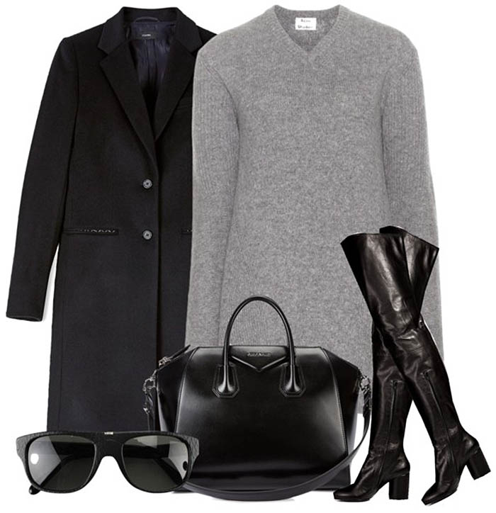 gray sweater dress black knee high boots