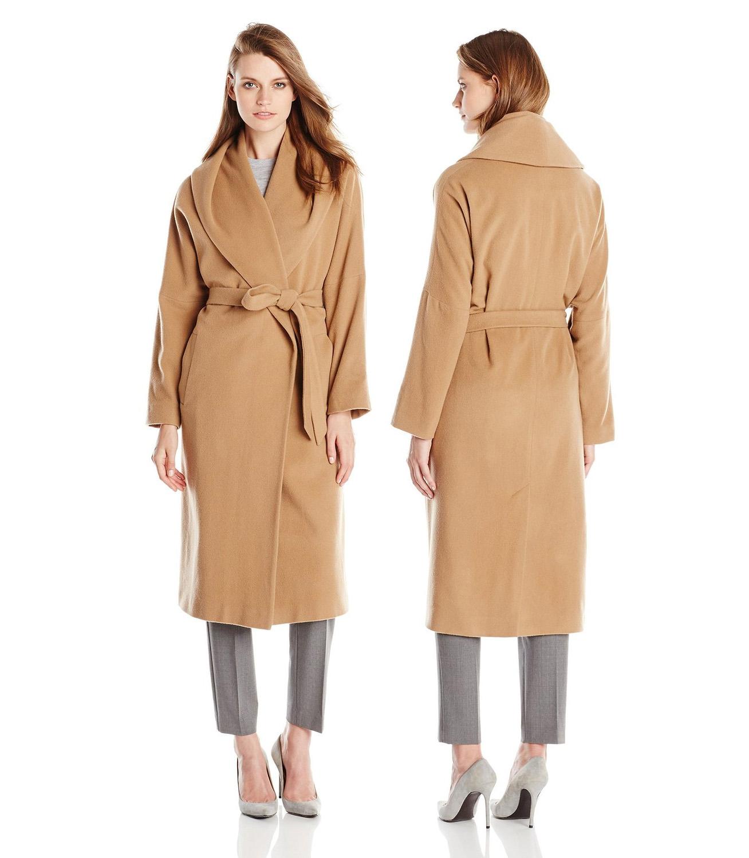 Helene Berman Womens Shawl-Collar Long Wrap Coat camel trench coat winter