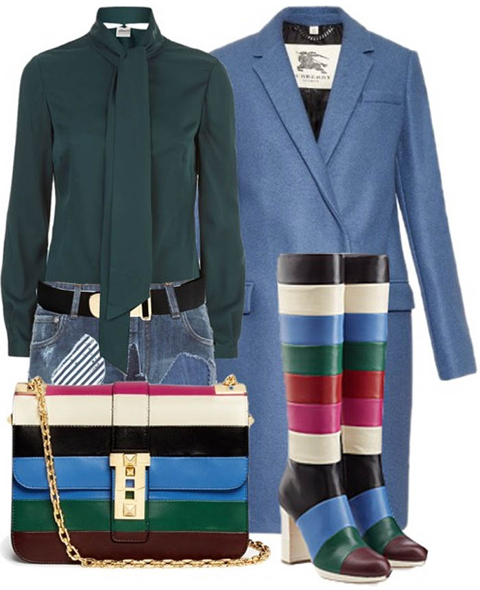 Valentino color block knee high boots outfit idea dolce gabbana patchwork denim skirt armani blouse