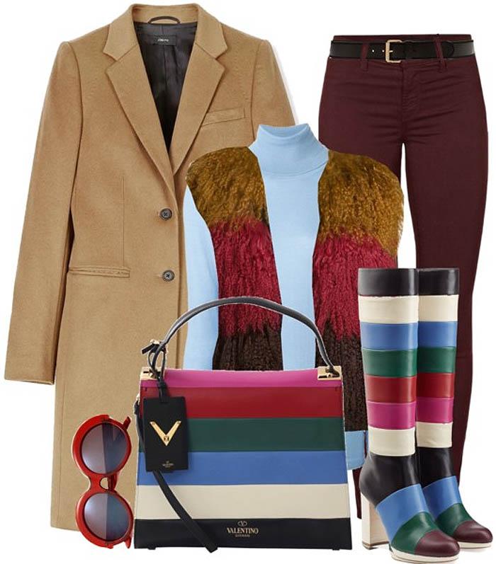 Valentino color block knee high boots outfit idea j brand jeans anna sui fur vest joseph camel coat agnona turtleneck sweater