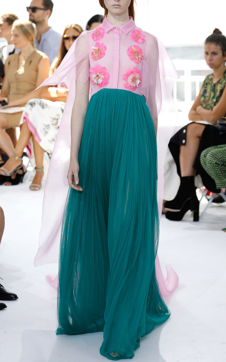 Delpozo Embroidered Silk Tulle Long Dress