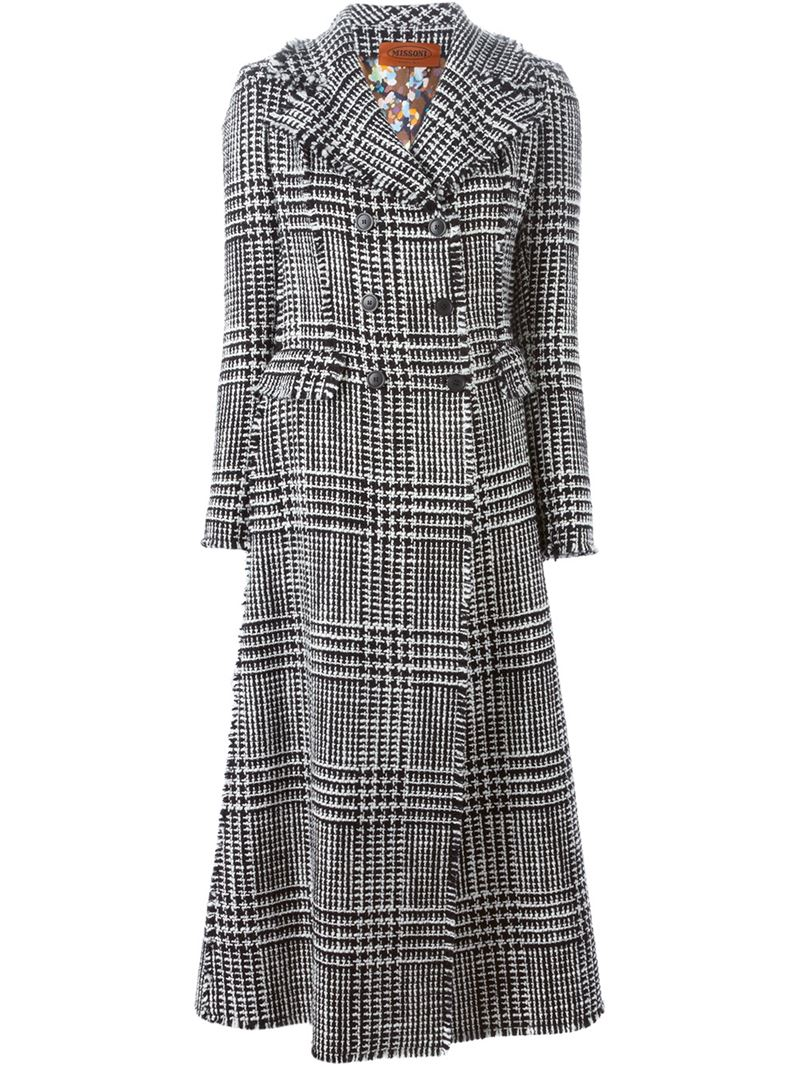 Missoni Black and white wool blend checked woven overcoat