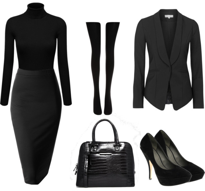Affordable outfit idea for wearing all black to work on a monday morning black pencil skirt turtleneck pumps blazer
