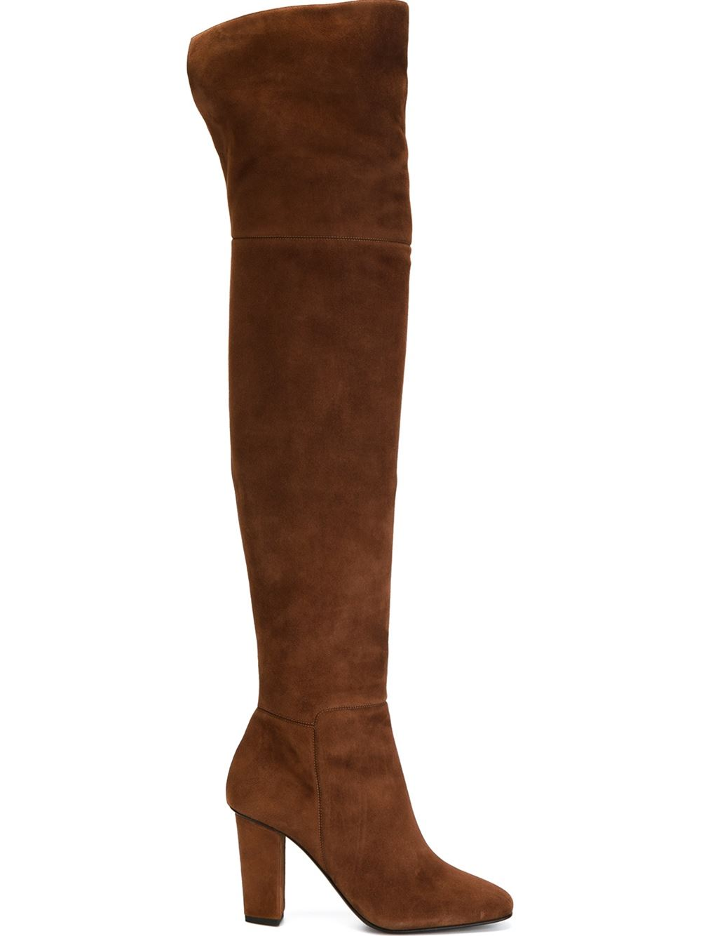 Brown leather and suede over the knee-length boots from Giuseppe Zanotti Design