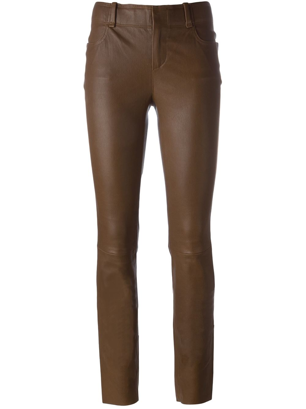 Brown skinny leather trousers from Stouls