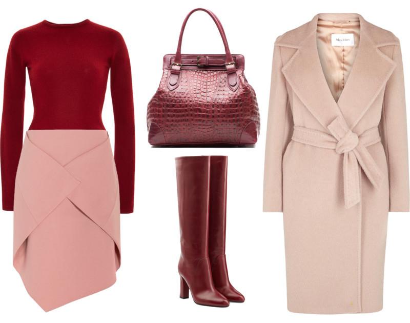 Burgundy Zac Posen top pink Tibi wrap skirt pink and burgundy outfit idea wearing combination