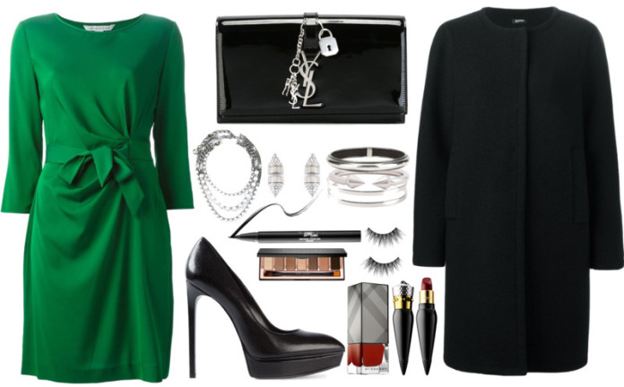 Green and black outfit idea wearing green dress black coat