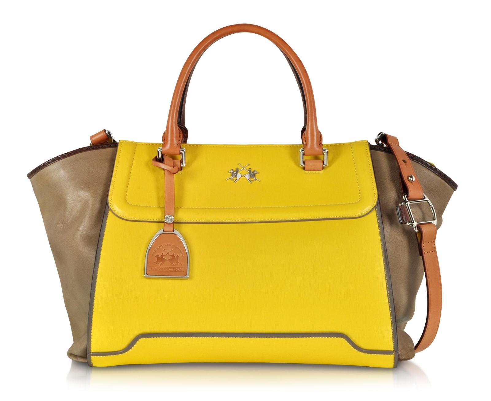 La Martina Alfonsina Color Block Leather Satchel Bag