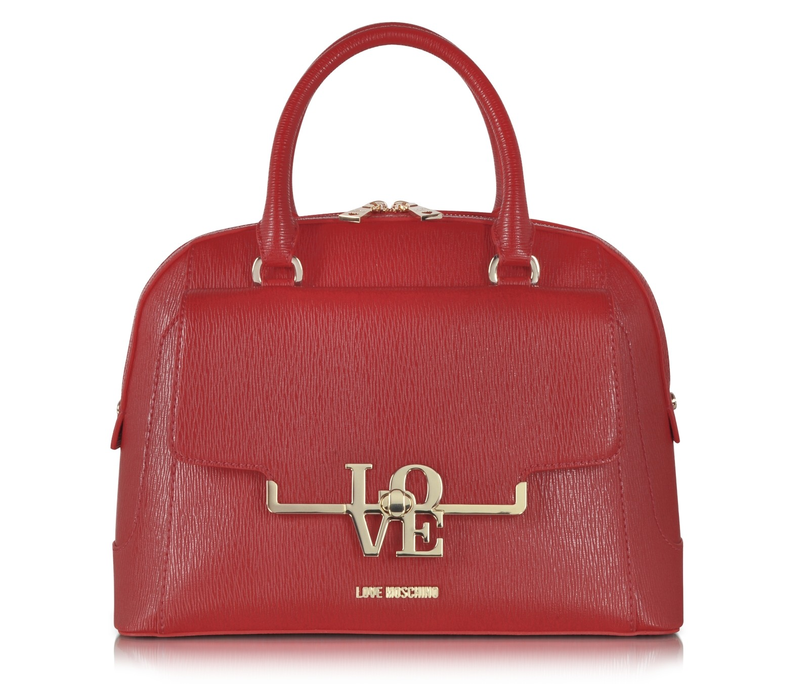 Love Moschino Brick Red Eco Leather Medium Satchel w Shoulder Strap
