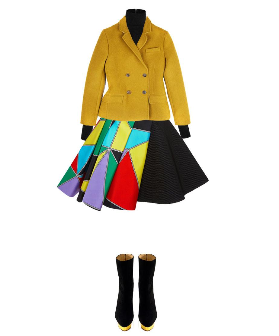 Martin Grant Black Wool Classic Turtleneck Sweater Jonathan Saunders Seymour Double Breasted Wool Jacket In Pea Green