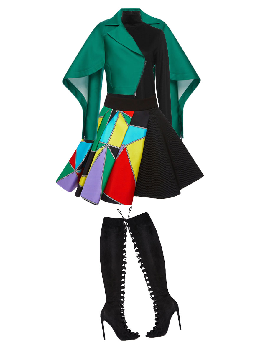 style fausto puglisi skirt with Martin Grant Black Wool Classic Turtleneck and an Antonio Berardi emerald silk scuba short jacket