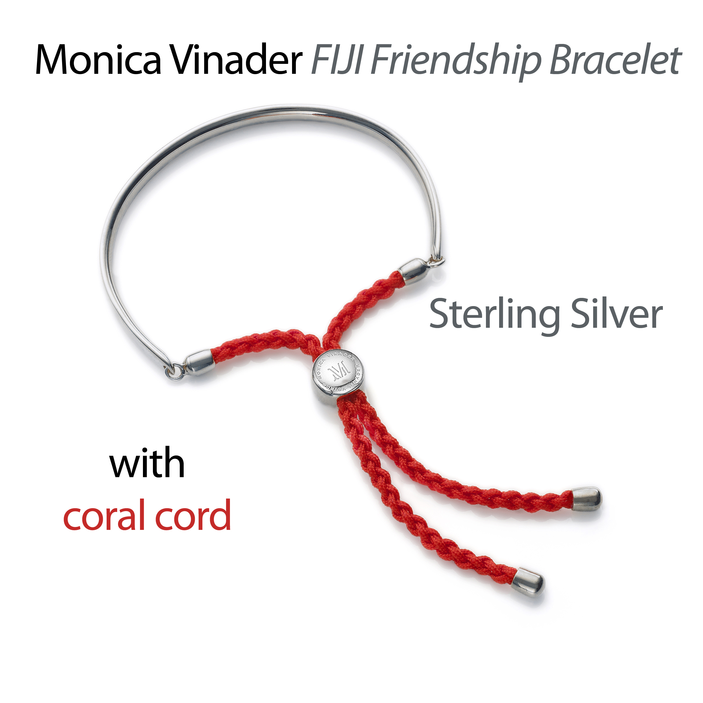 Monica Vinader Fiji friendship bracelet sterling silver with coral cord