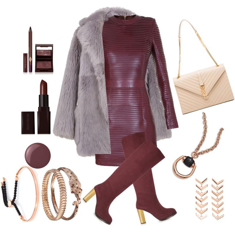 Monica Vinader fiji friendship bracelet with Balmain burgundy leather dress Tibi fur coat Stella McCartney boots Saint laurent bag