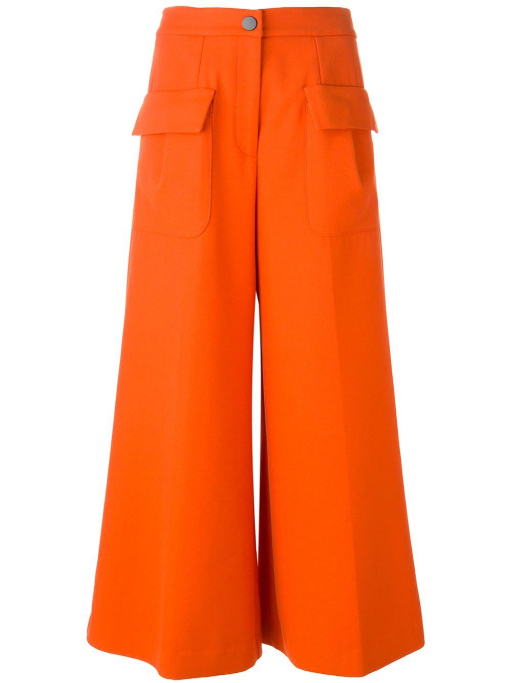 Orange stretch cotton blend wide leg trousers from Giulietta New York
