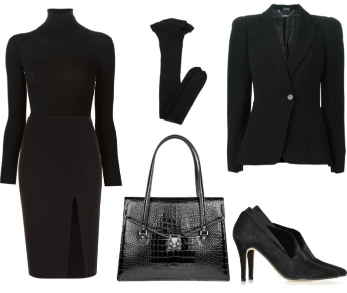 Outfit idea for wearing all black to work on a monday morning black pencil skirt turtleneck pumps blazer