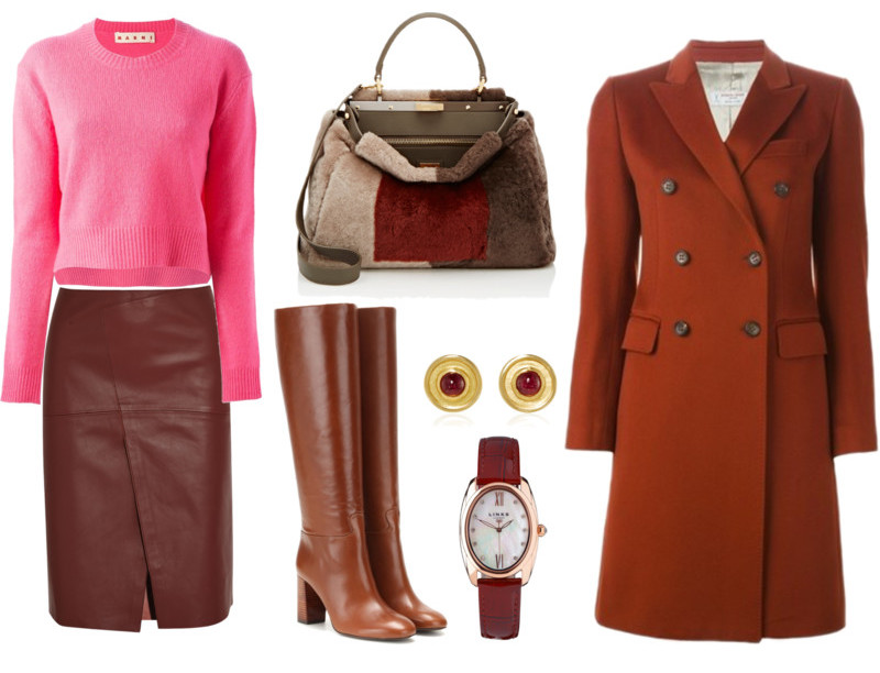 Pink top burgundy skirt outfit Marni sweater Joseph skirt