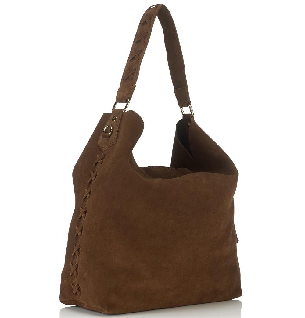 Vanessa Bruno Cacao Nubuck Leather Shoulder Bag