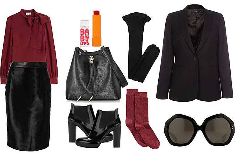burgundy silk tie bow blouse black leather pencil skirt black boots blazer tights socks