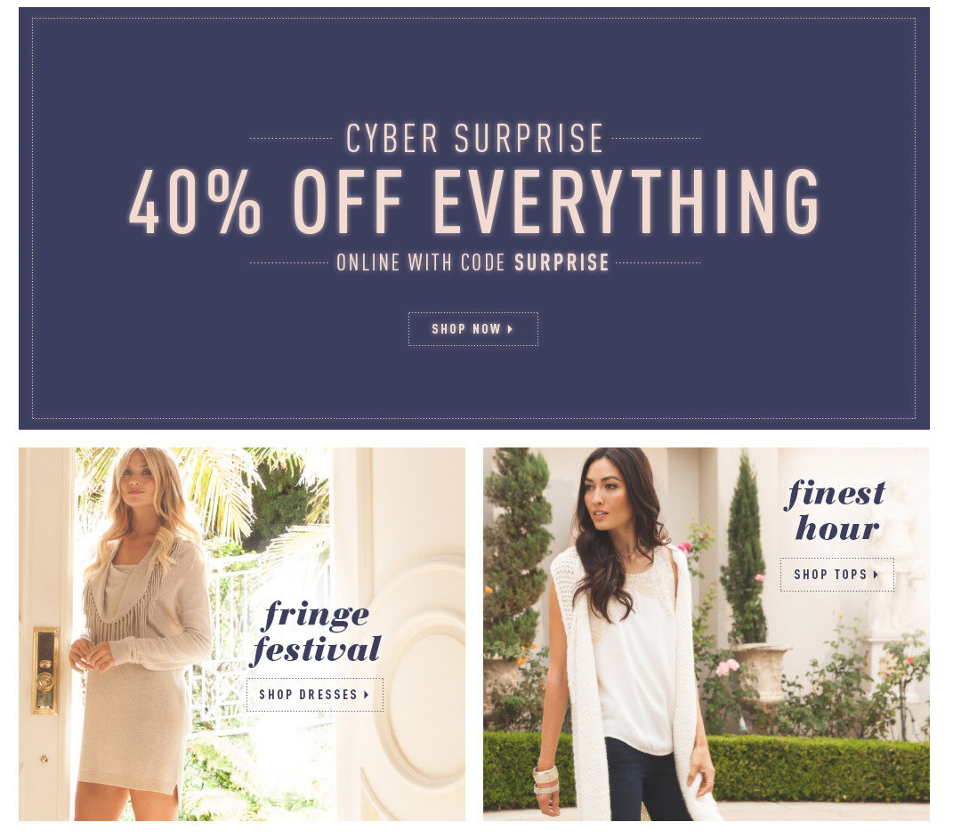 cyber monday deals - ella moss 40% off everything cyber monday sale