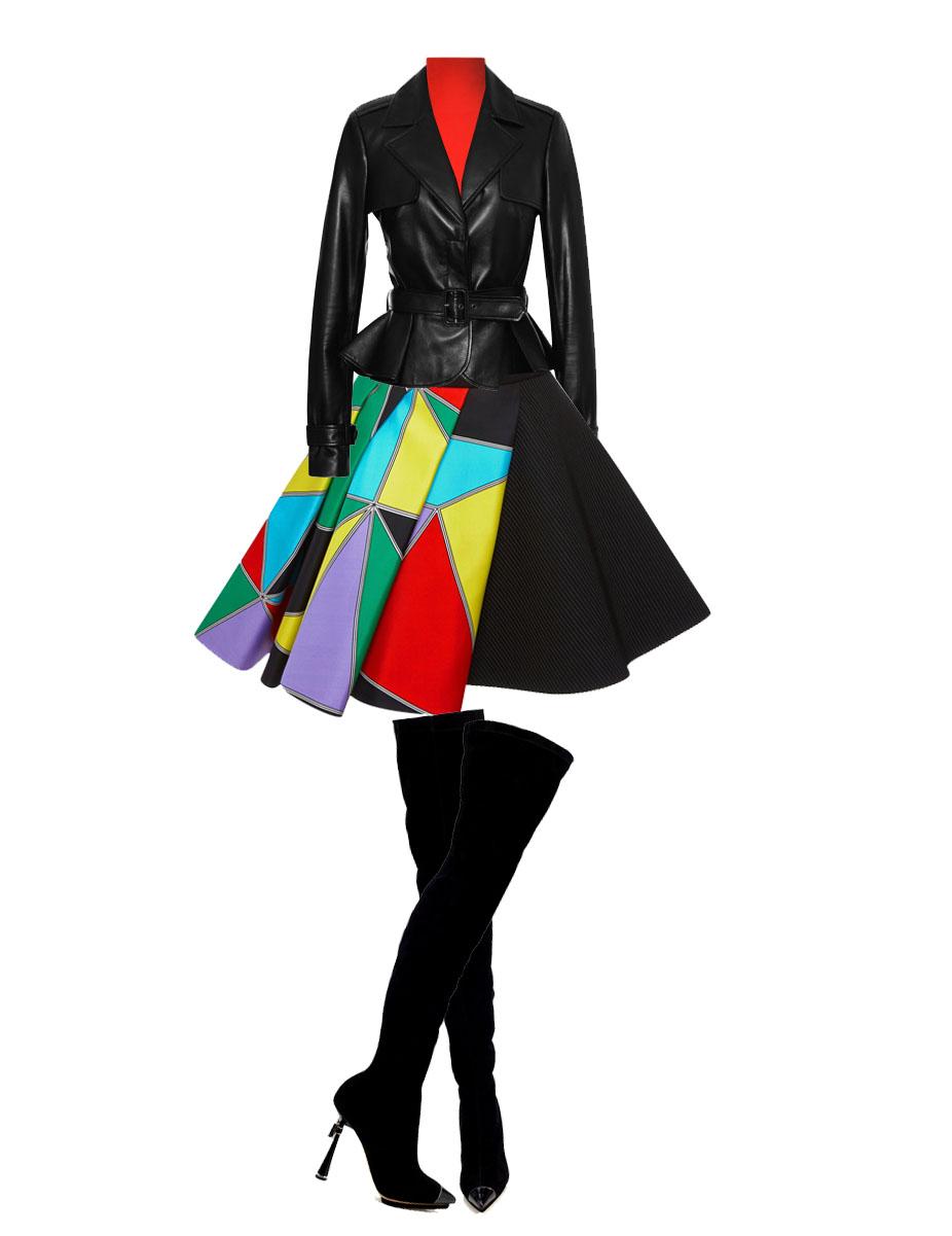 style fausto puglisi skirt with red Prabal Gurung Crimson Needle Rib Turtleneck black Elie Saab Black Peplum Leather Jacket