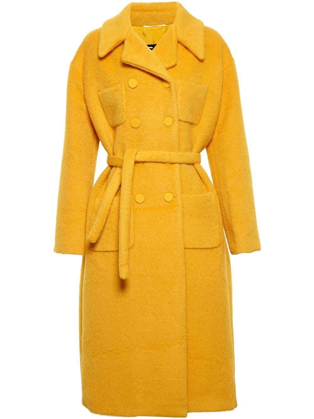 yellow Rochas alpaca-wool blend coat