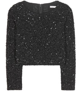 Alice plus Olivia Lacey black glittering beads and sequins embellished cropped top 512 dollars
