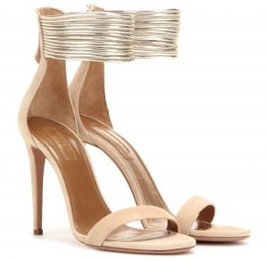 Aquazzura Spin Me Around 105 suede sandals nude-toned suede with silver-tone rope detailing on the ankle 755 dollars