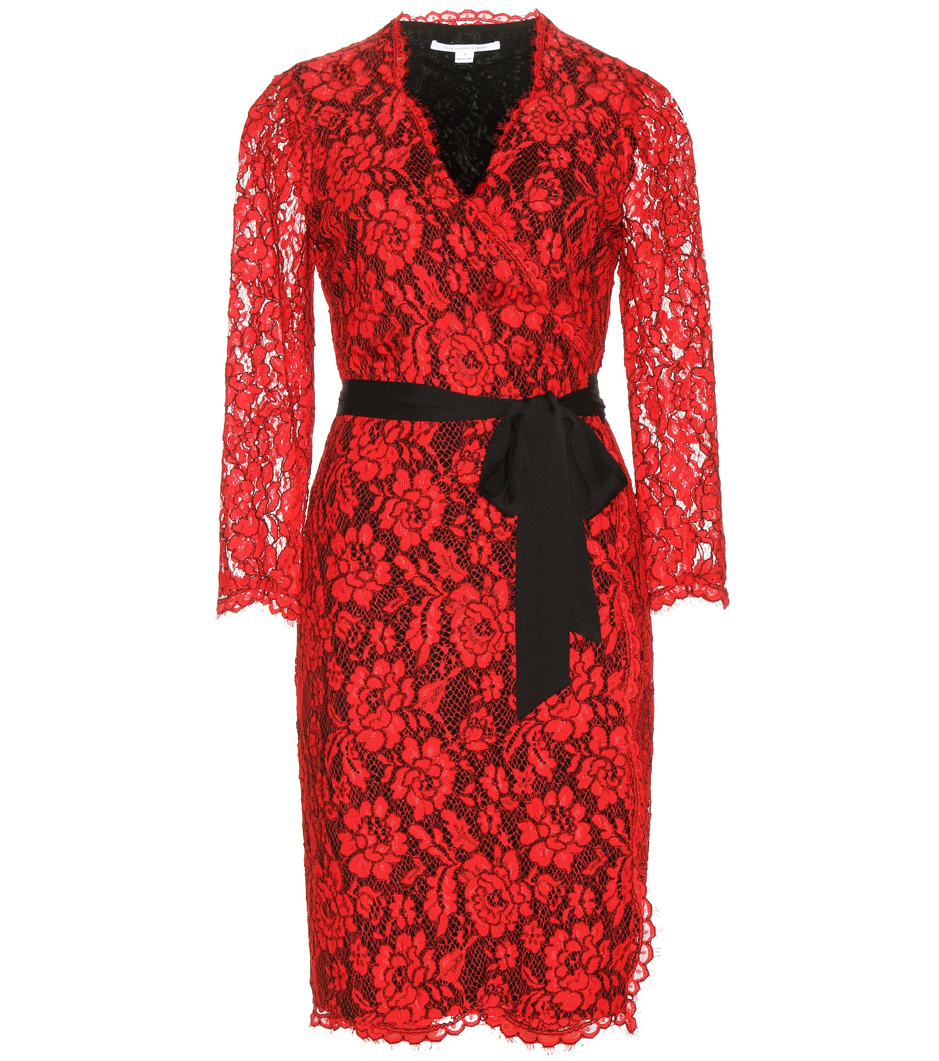 Diane von Furstenberg Julianna red lace wrap dress with black self tie belt 749 dollars