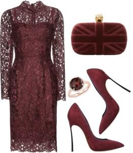 Dolce and Gabbana eggplant dark purple viola medio floral lace dress