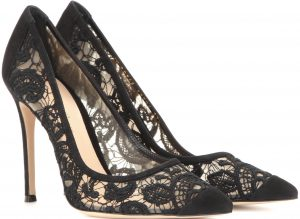 Gianvito Rossi ornate macrame lace pumps with butter-soft suede 835 dollars