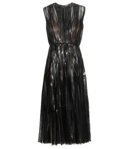 Gucci coated effect black Metallic pleated tulle midi dress 3600 dollars