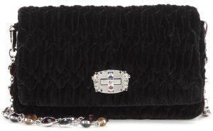 Miu Miu textured black fabric Matelasse velvet shoulder bag with crystal embellished strap 1255 dollars