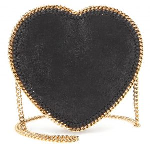 Stella McCartney black faux leather gold chain strap heart-shaped shoulder bag 960 dollars
