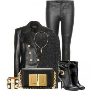 Style idea for Alice plus Olivia Lacey beaded black sequins top balmain leather jacket tom ford bag j brand leather leggings