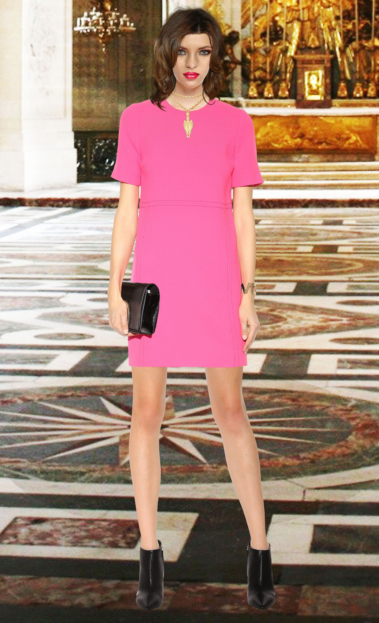 clothing model in pink victoria victoria beckham dress copy cr