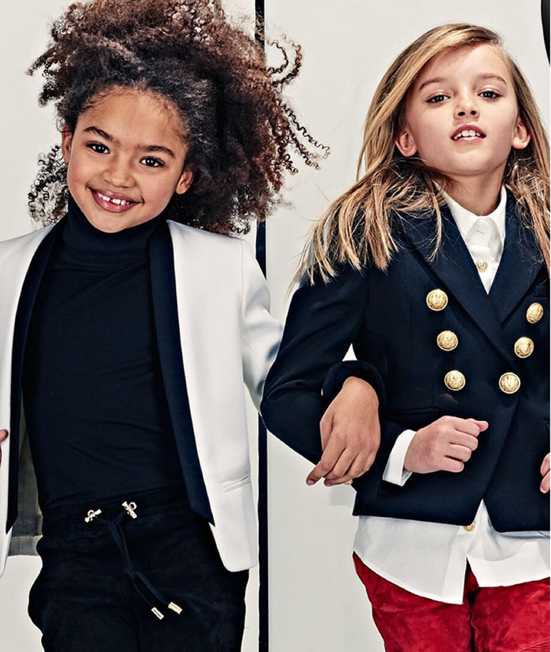 Balmain kids campaign ad photo girls modeling