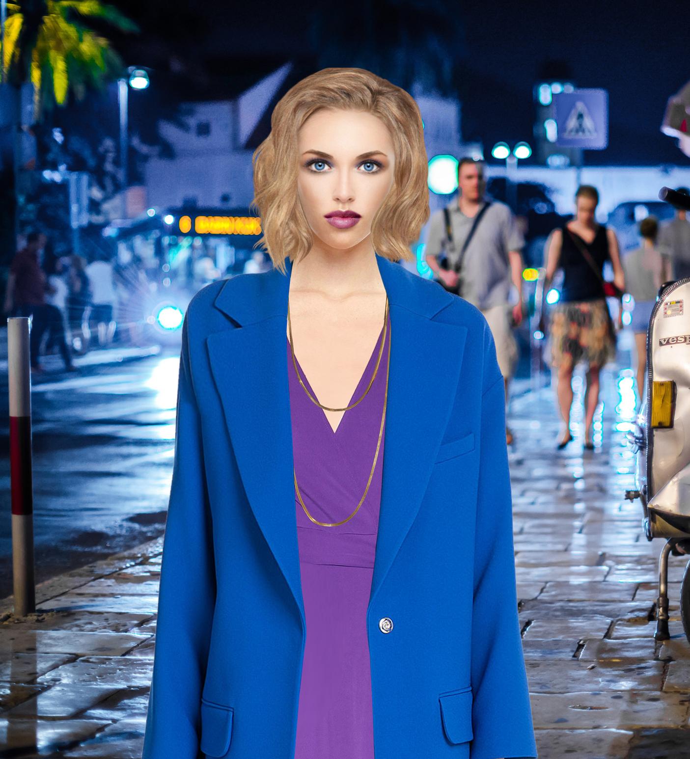 clothing model blue coat purple dress copy 2