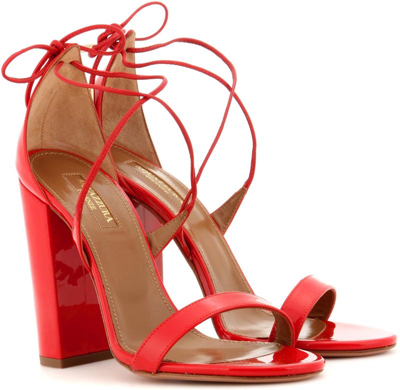Aquazzura Lily 105 patent leather sandals