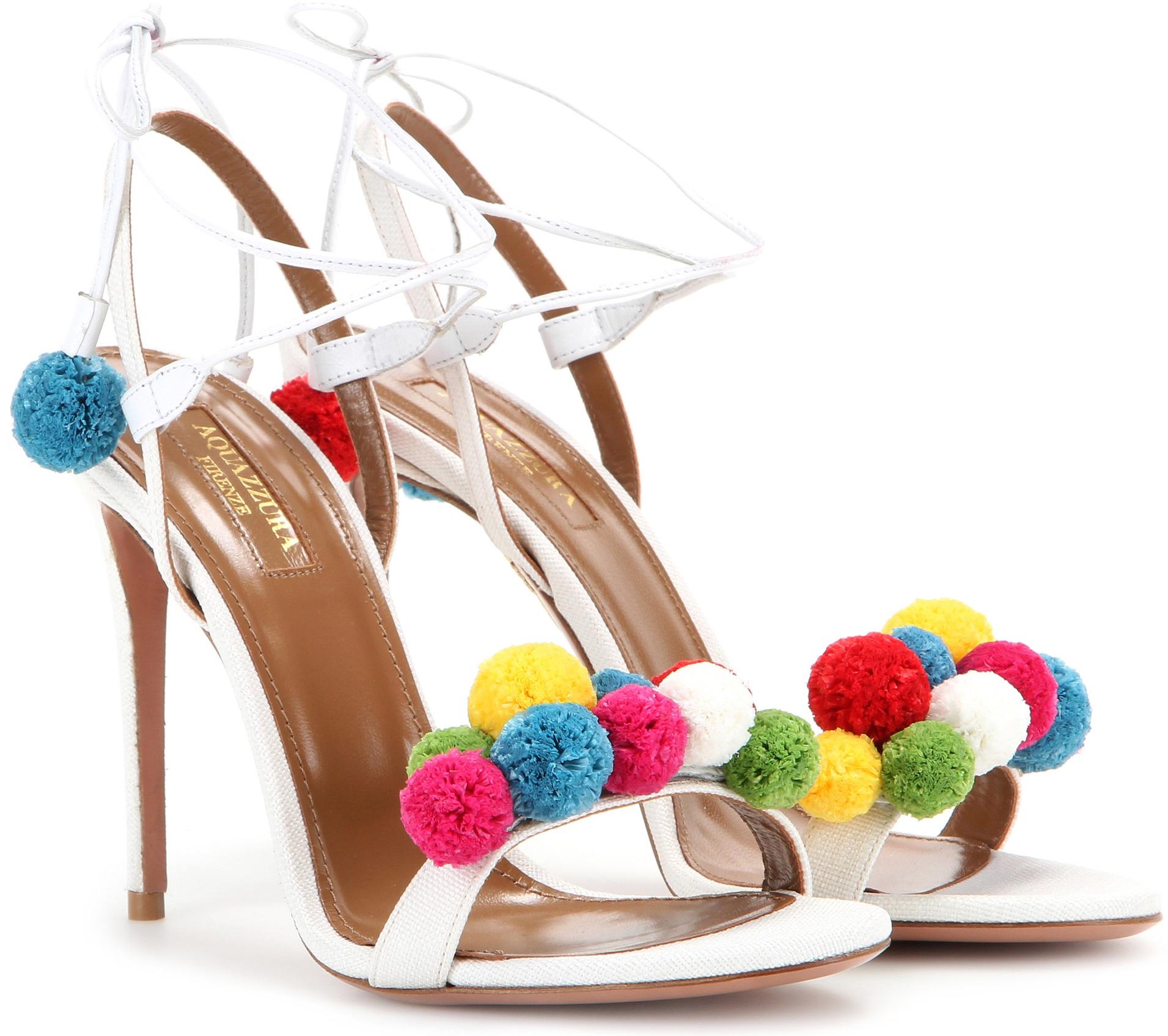 Aquazzura Pon Pon 105 raffia and leather sandals