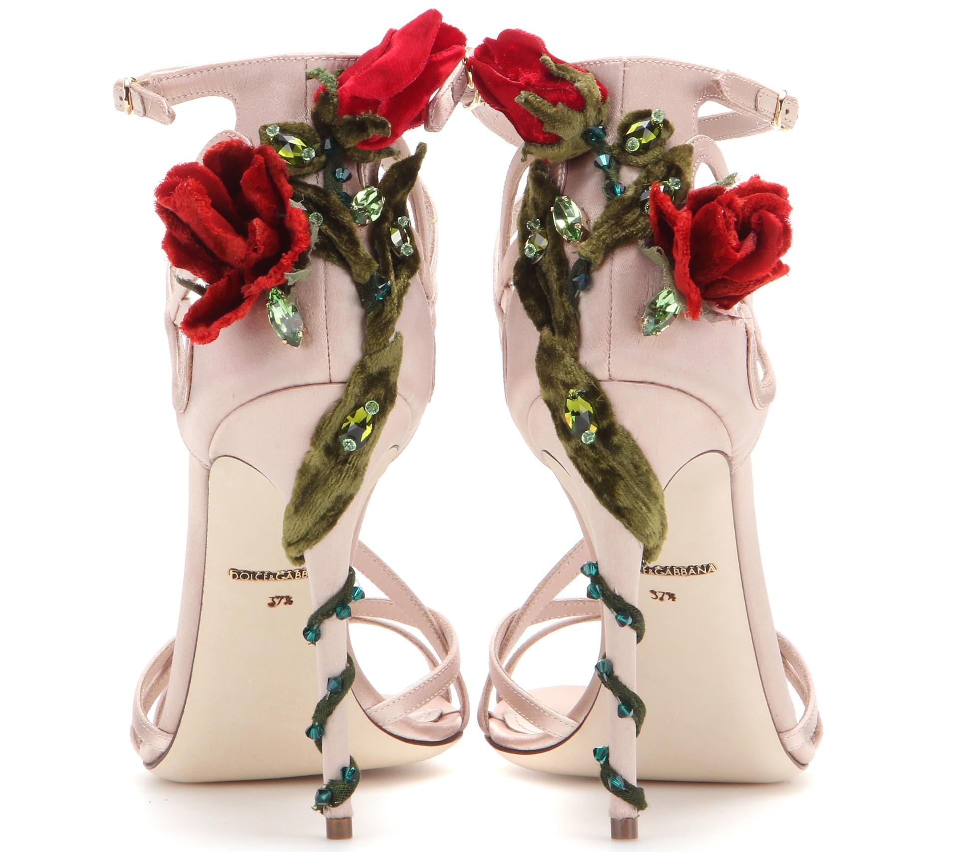 Dolce and Gabbana Embellished satin sandals back