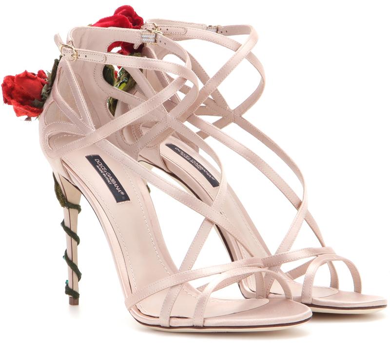 Dolce and Gabbana Embellished satin sandals