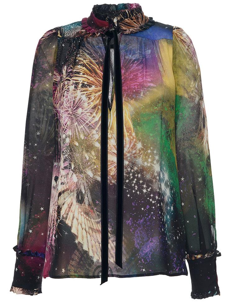 Roberto Cavalli Stardust Printed Silk Georgette Shirt