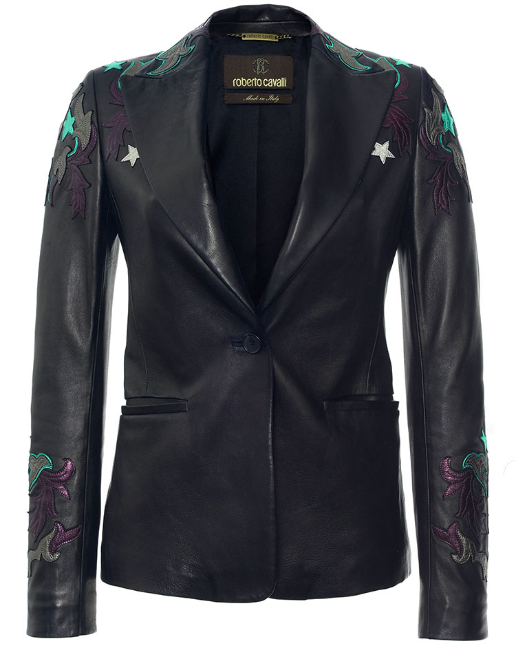 Roberto Cavalli black Embroidered Leather Blazer