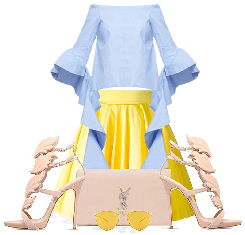 Butter yellow skirt pale baby powder blue top