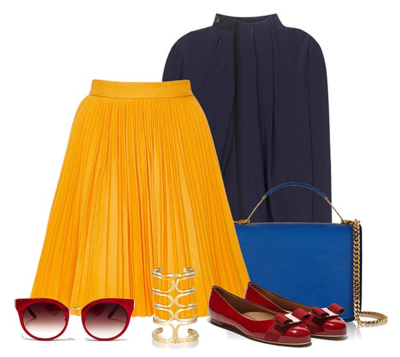 Mustard yellow pleated skirt with navy blue silk top