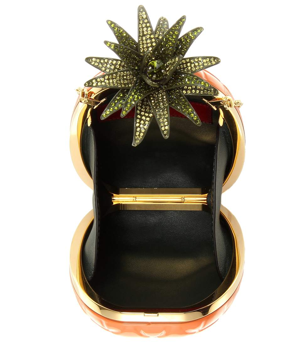 Valentino pineapple box clutch inside view