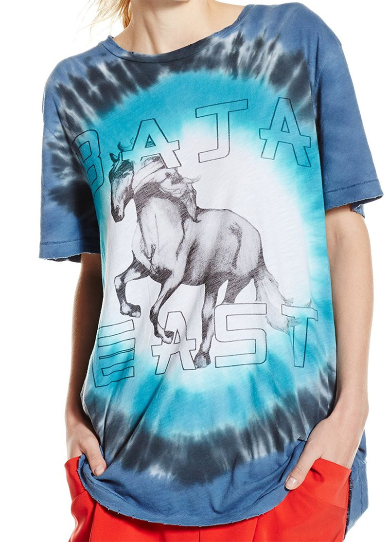 amazon fashion baja east Unisex Hand Tie Die T-Shirt with Horse Graphic