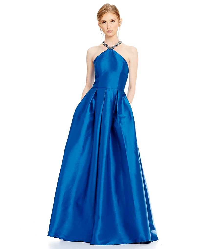 Carmen Marc Valvo Infusion Beaded Halter Neck Ball Gown